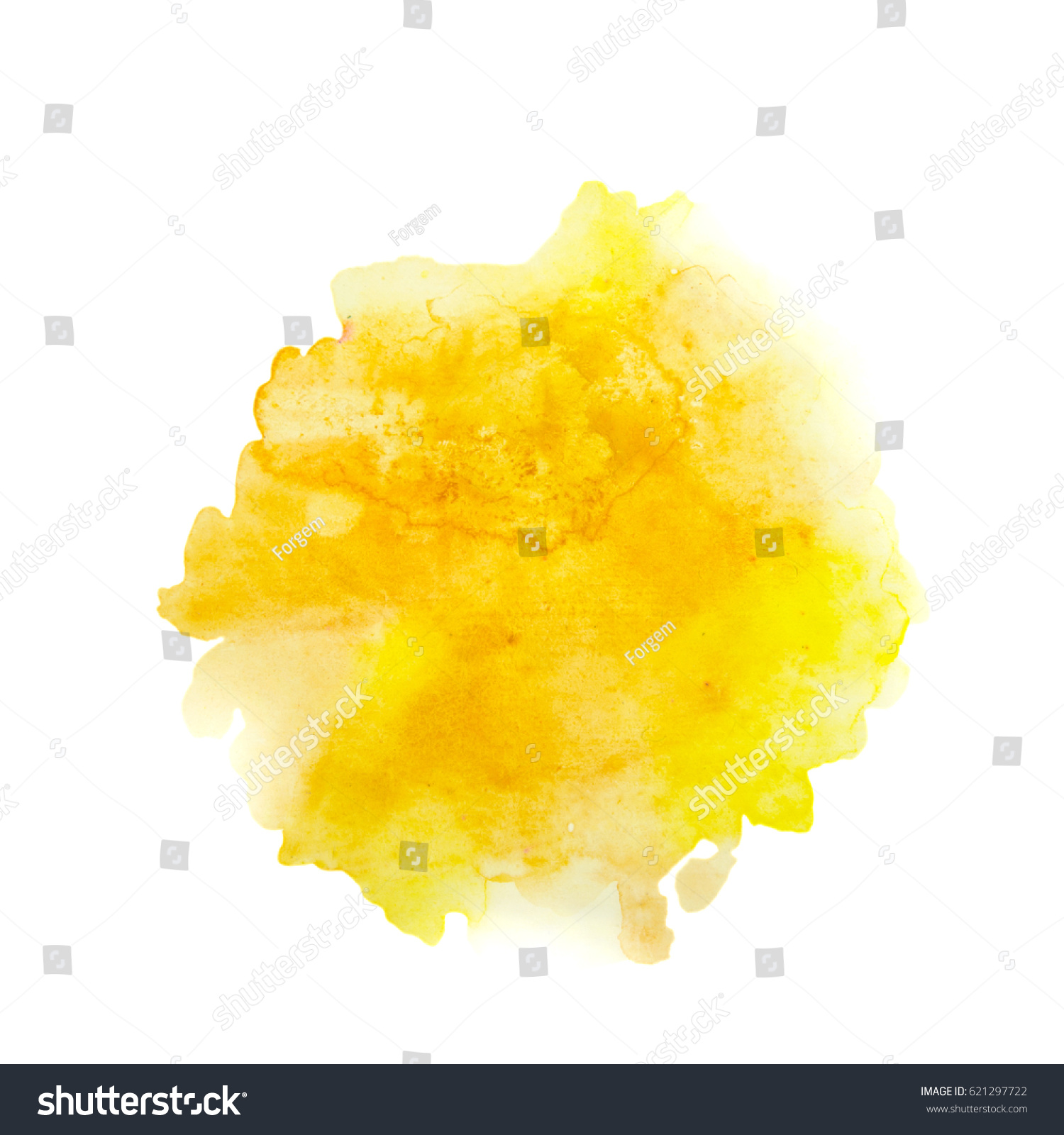 Color, yellow - orange splash watercolor hand painted isolated on white background, artistic decoration or background #621297722