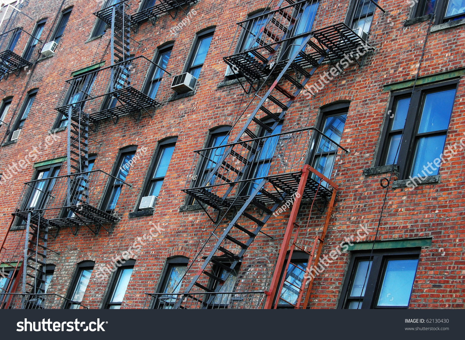 Outside Wall Apartment Block Featuring Fire Stock Photo 62130430