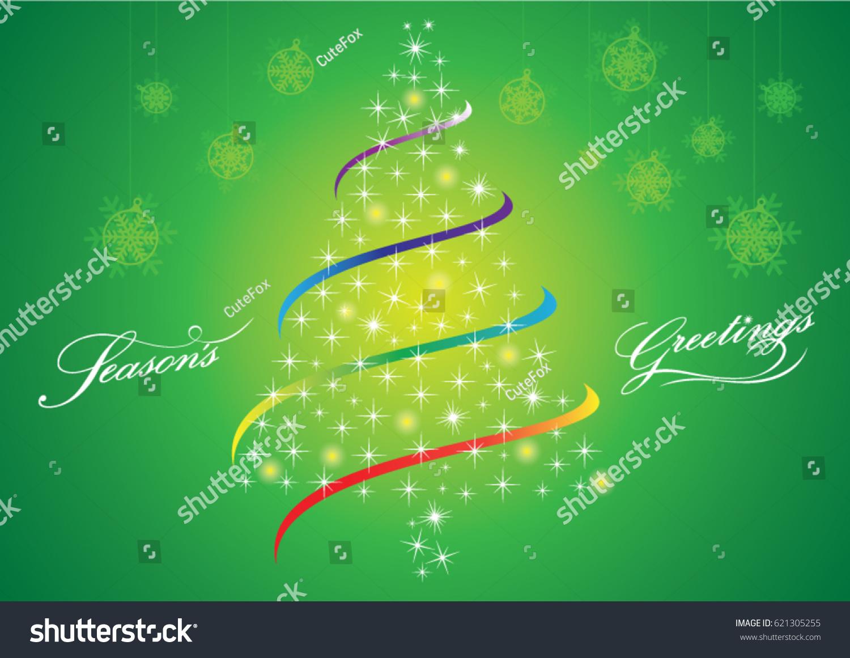 Merry Christmas Sparkle Xmas Tree Seasons Stock Vector 621305255