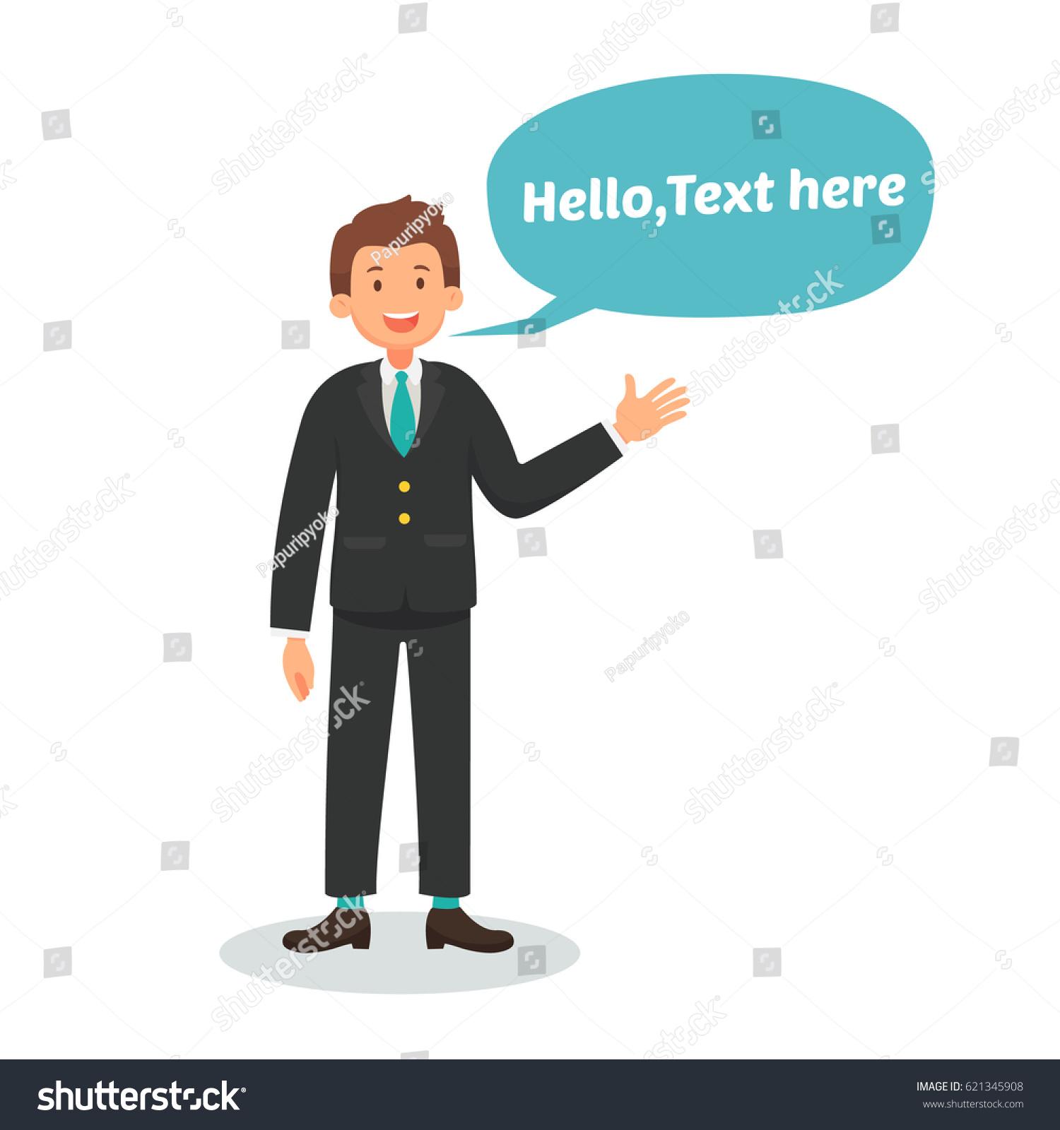 Businessman greeting talking presentation text bubble stock vector businessman are greeting talking presentation with text bubble speech vector illustration design m4hsunfo
