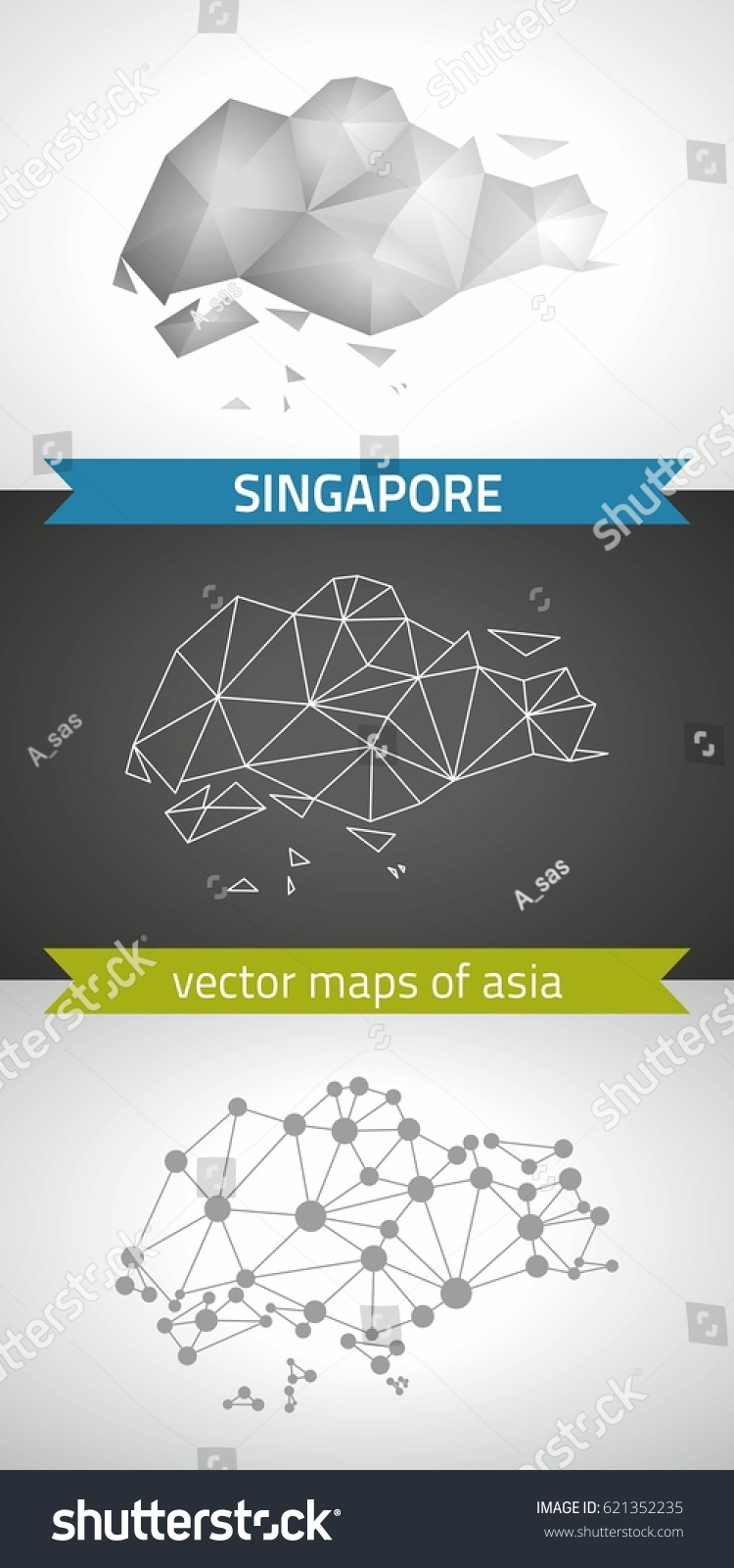 Singapore Collection Vector Design Modern Maps Stock Vector (Royalty ...