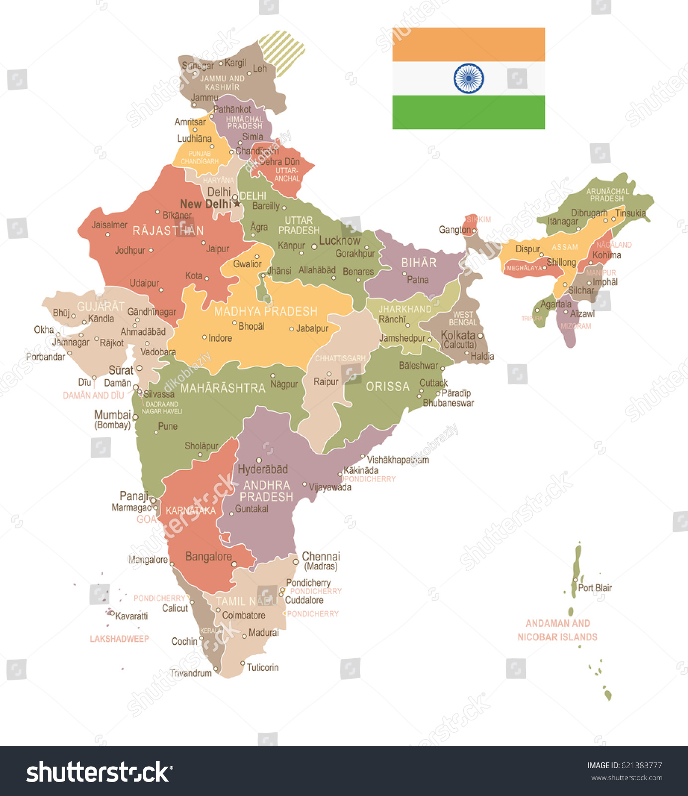 India vintage map flag highly detailed vector de stock621383777 india vintage map and flag highly detailed vector illustration gumiabroncs Image collections