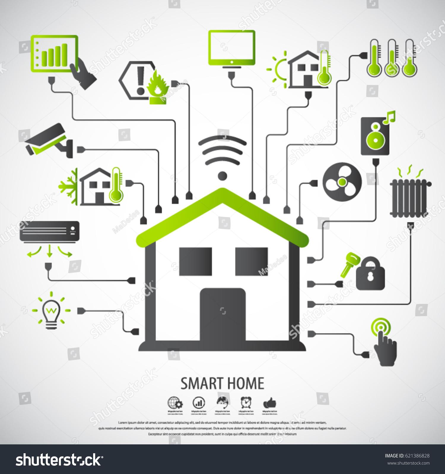 Smart Home Flat Design Style Vector Stock Vector 621386828 ...