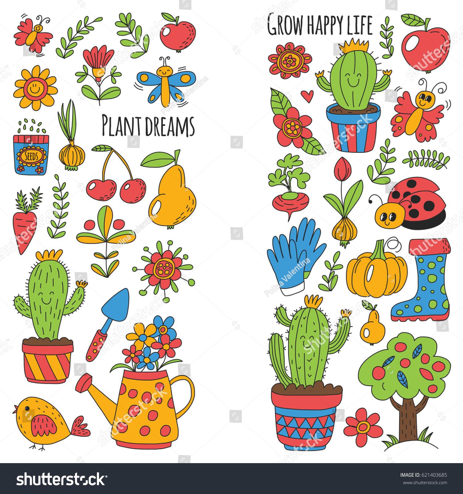 Great Cute Vector Garden With Birds, Cactus, Plants, Fruits, Berries, Gardening  Tools