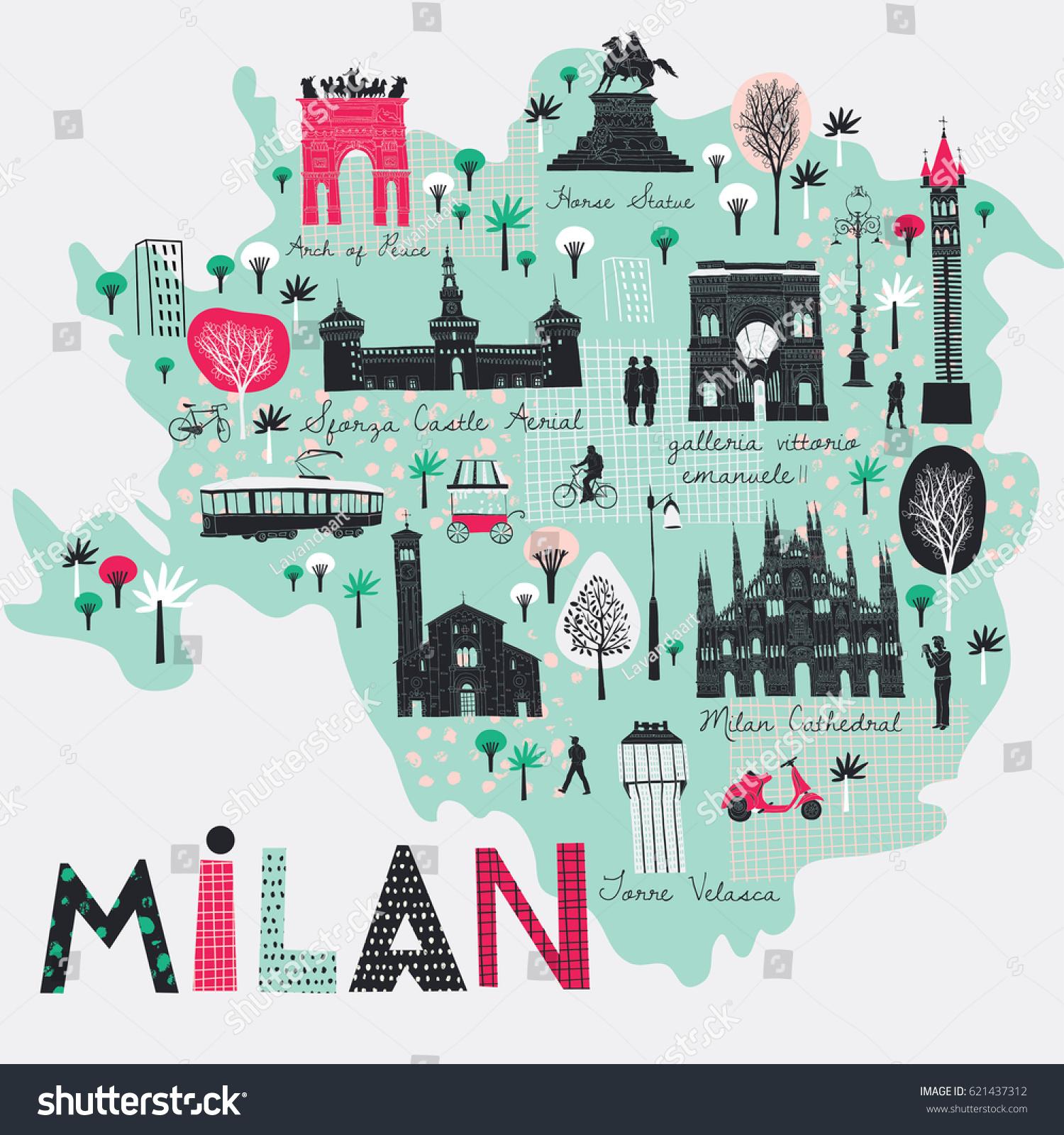 Cartoon Kort Over Milano Italien Udskriv Lagervektor Royaltyfri