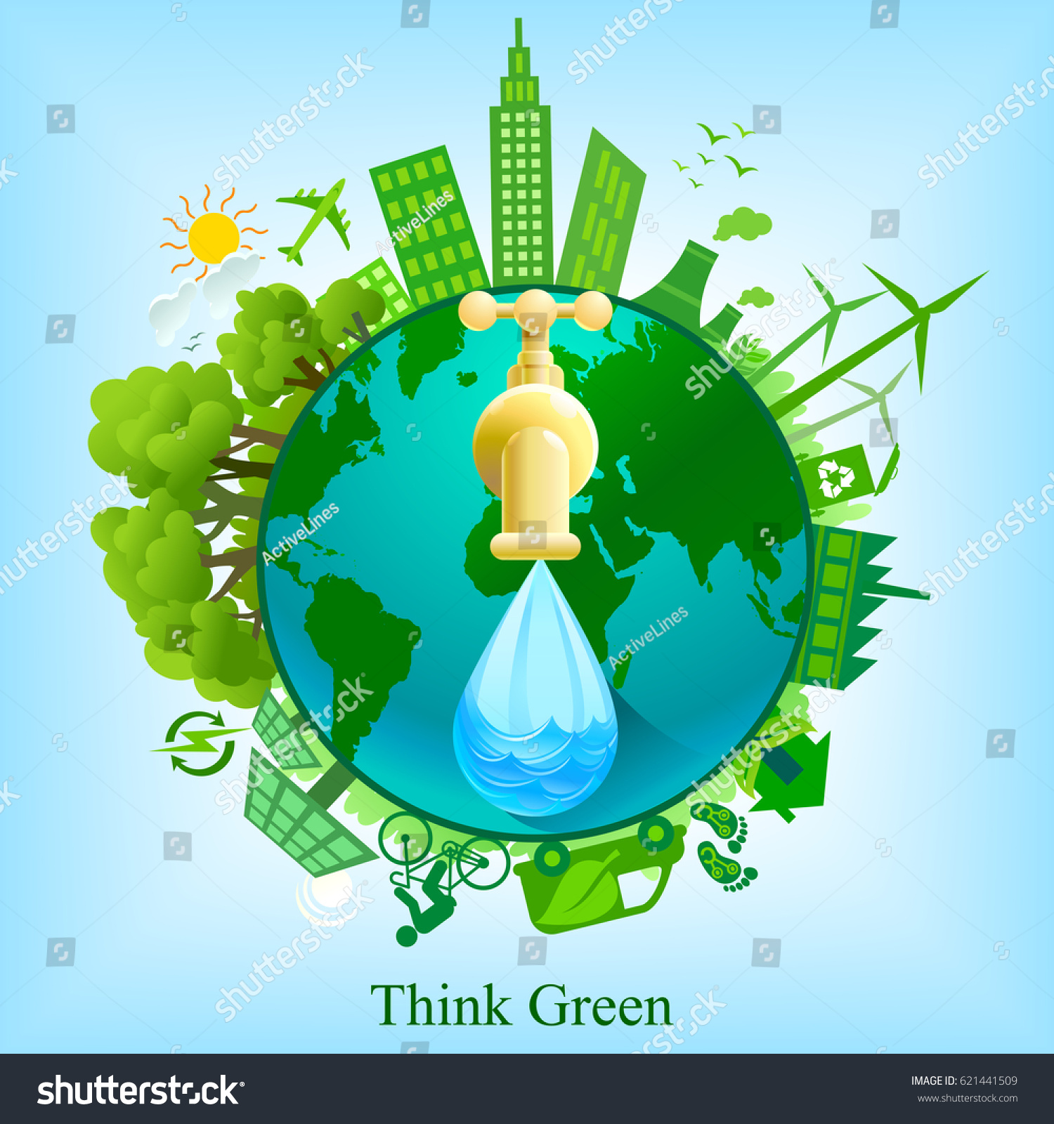 Earth Day Celebration Illustration Green Energy Stock Vector
