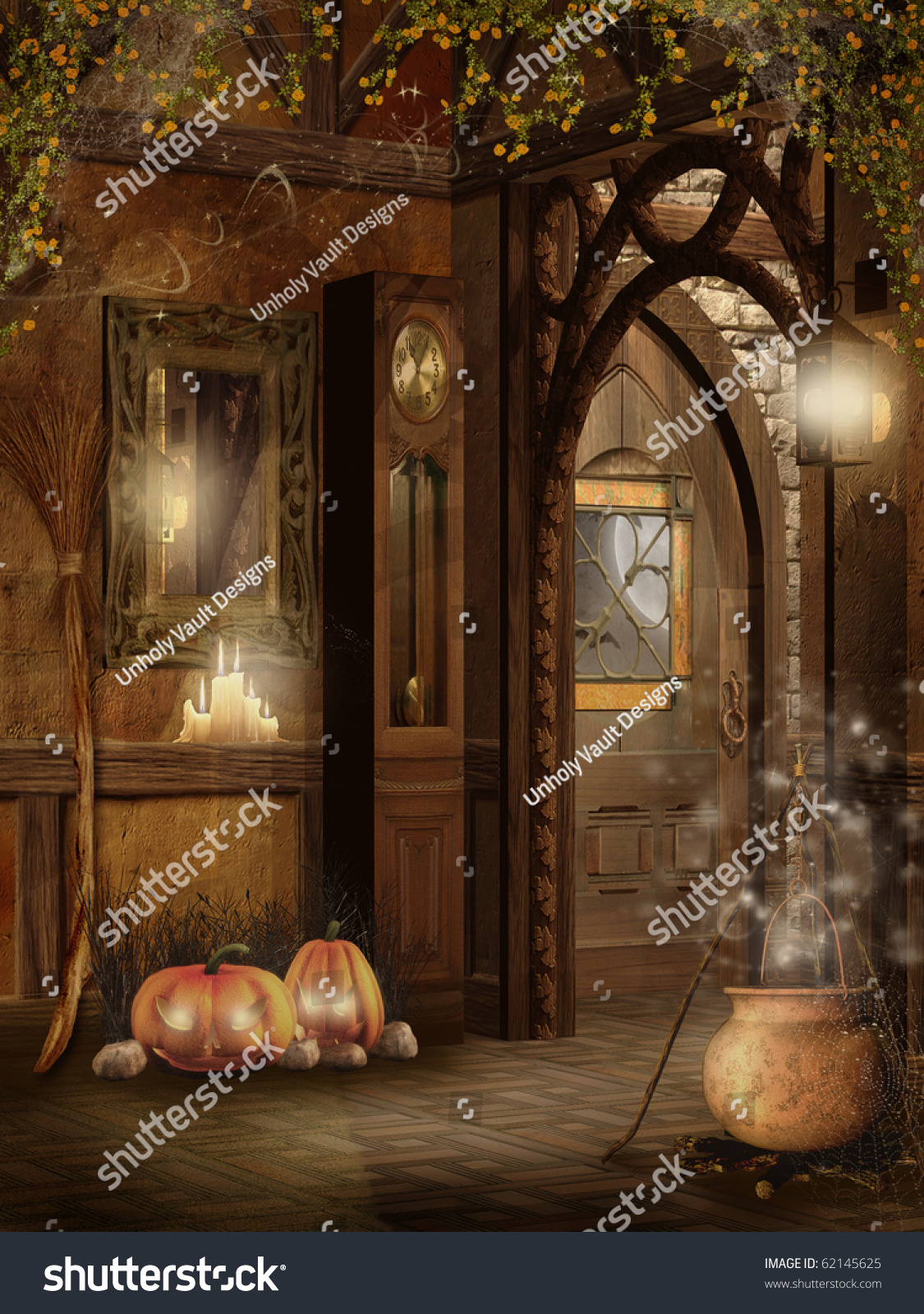 cottage interior with halloween decorations