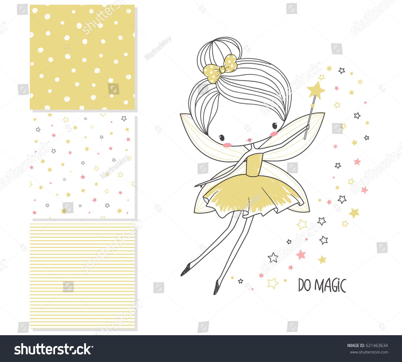 cute little fairy surface design 3 stock vector 621463634