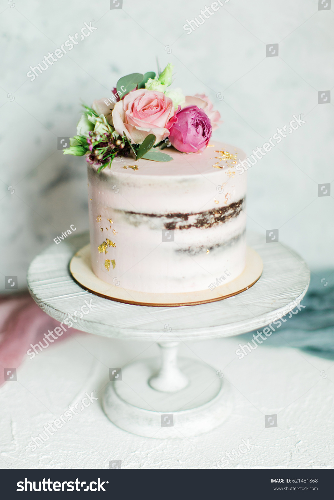Wedding Cake Decorated Fresh Flowers Gold Stock Photo Edit Now