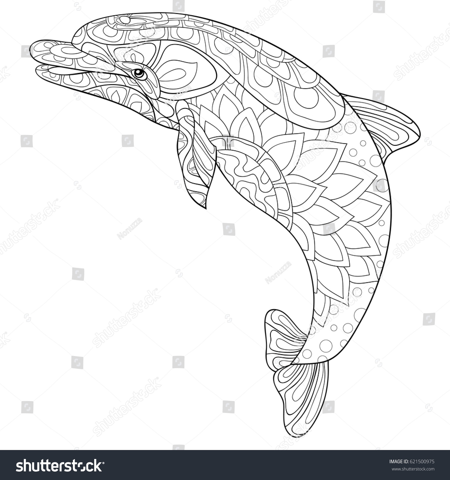 Adult Coloring Page Dolphin Art Style Stock Vector 621500975 ...