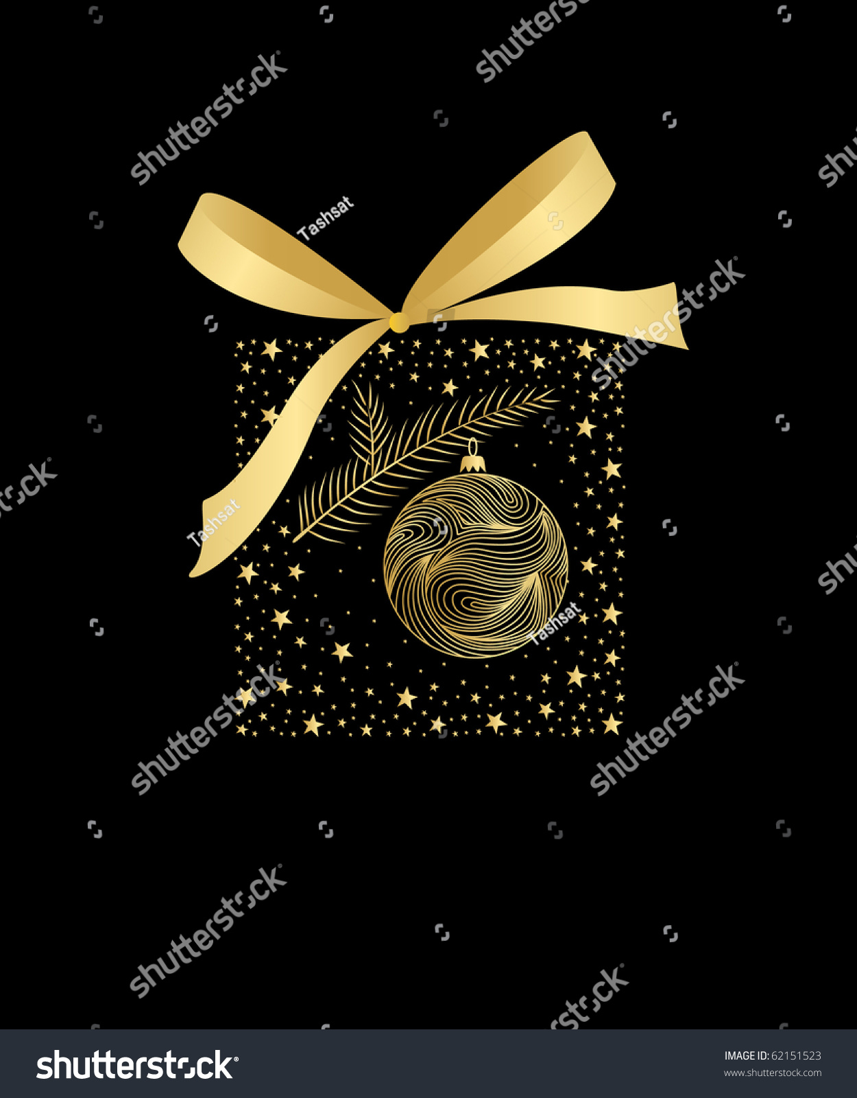Black And Gold Christmas Card Illustration 62151523