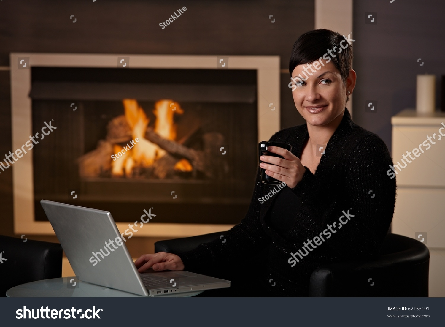 Young Woman Sitting Front Fireplace Home Stock Photo 62153191 ...