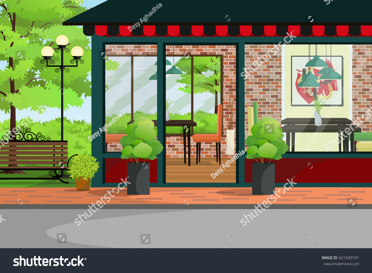 Cafe Restaurant Coffee Shop Building Green Stock Vector Royalty Free 621540101