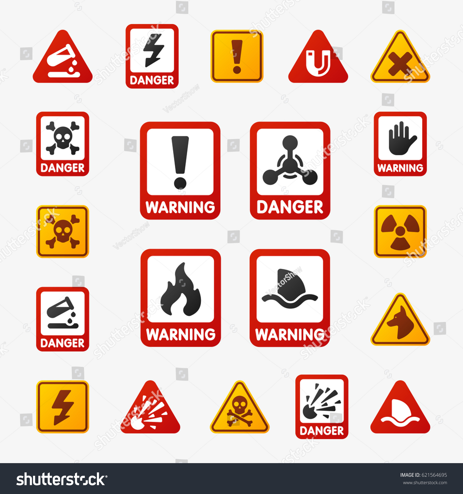 Prohibition Signs Set Industry Production Vector Stock Vector