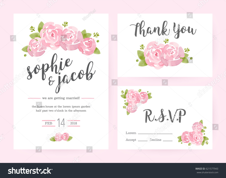 Wedding Invitation Flower Card Templatesset Invitations Stock ...