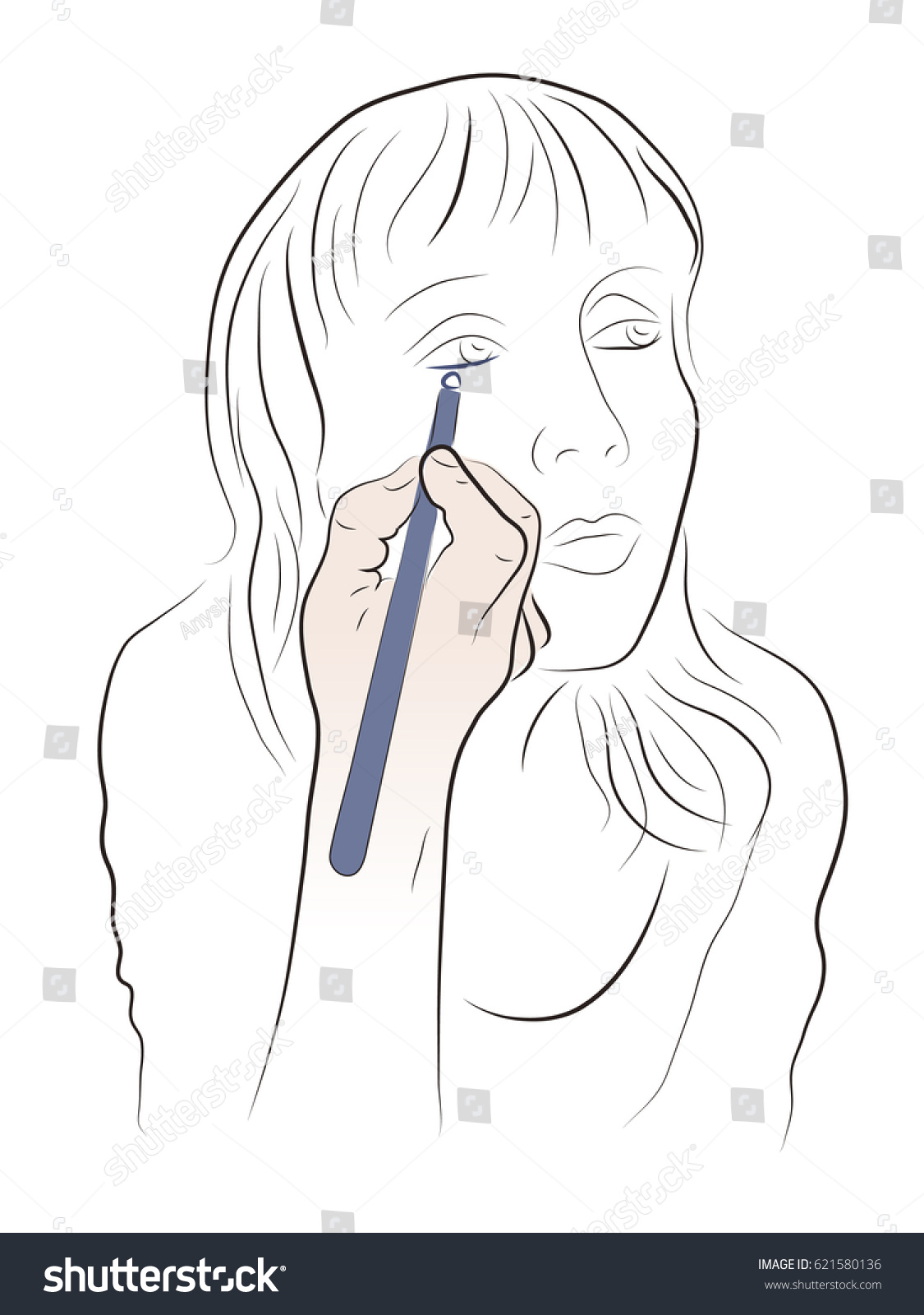 Woman Raised Her Eyebrow Pencil Her Stock Vector Royalty Free
