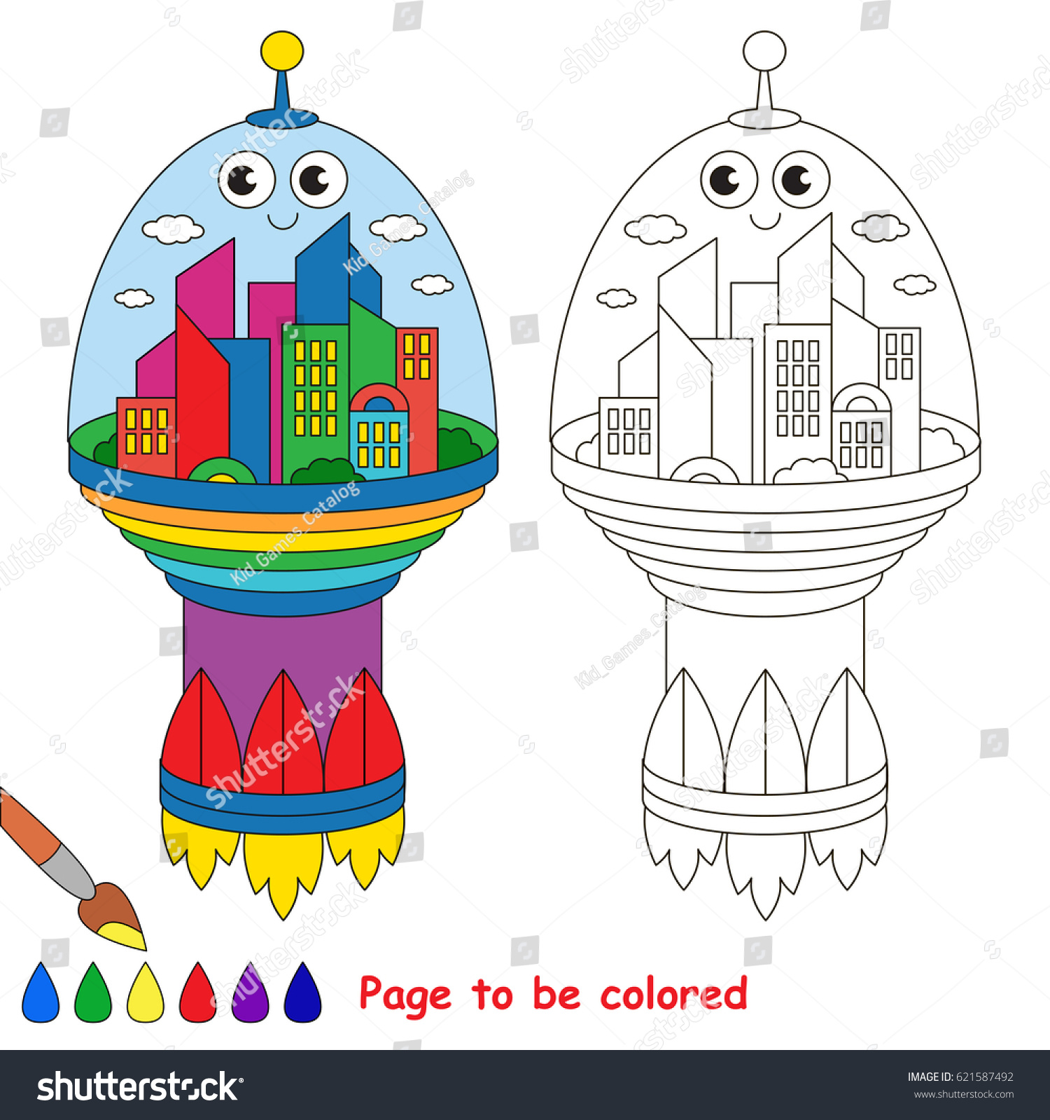 stock vector space city to be colored the coloring book for preschool kids with easy educational gaming level