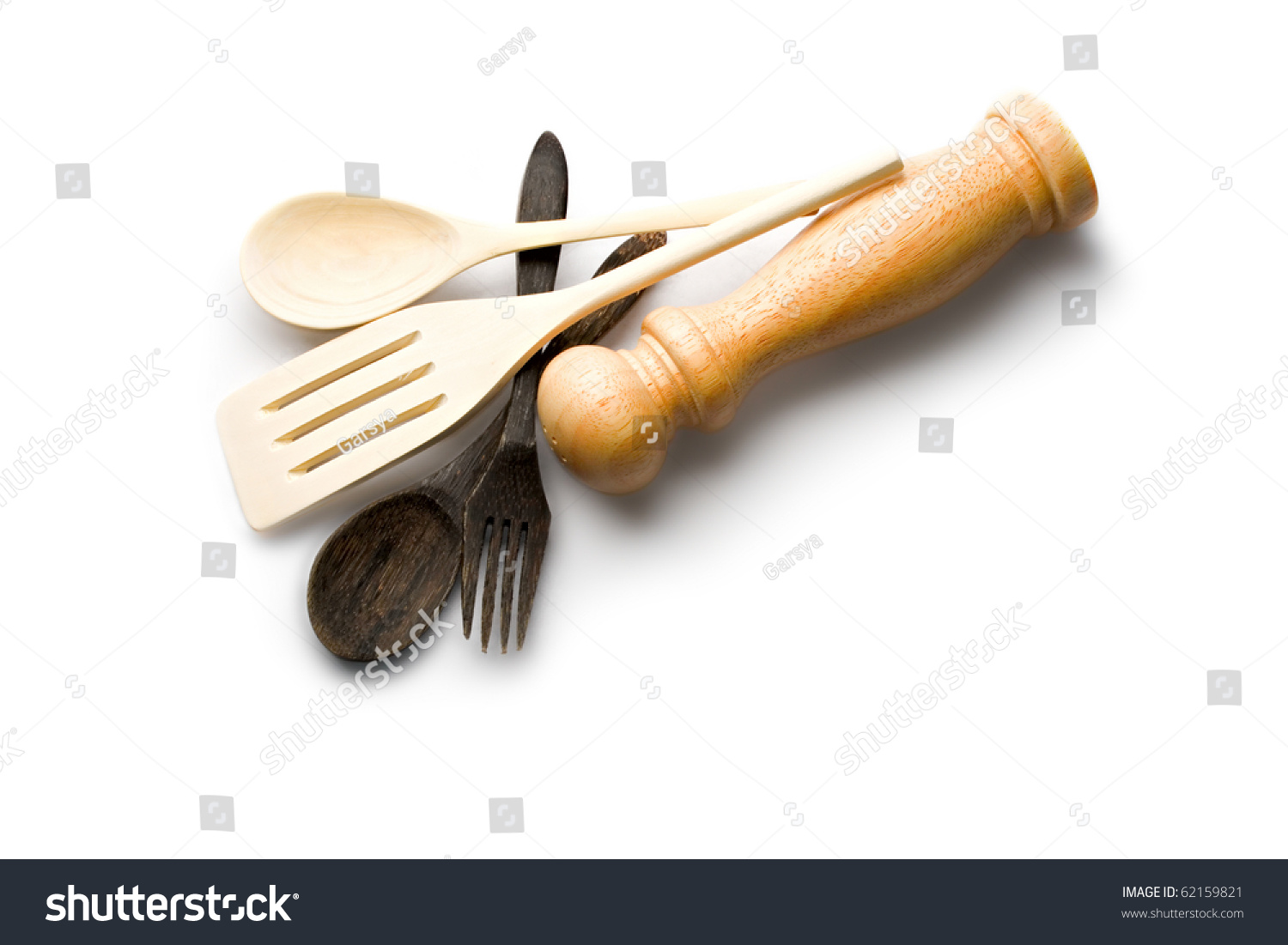 Wooden Kitchenware Isolated On White Stock Photo (Edit Now ...