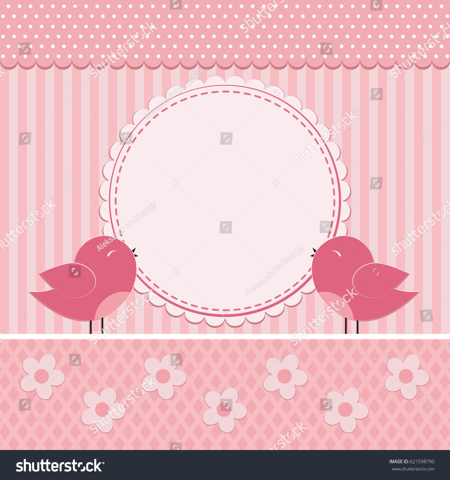 Greeting Card Cute Birds Cartoon Flowers Stock Vector 621598790
