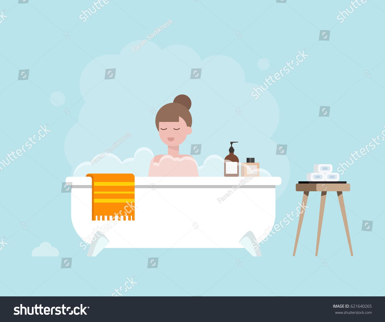 Girl Taking Bath Bathtub Bubbles Flat Stock Vector HD (Royalty Free ...