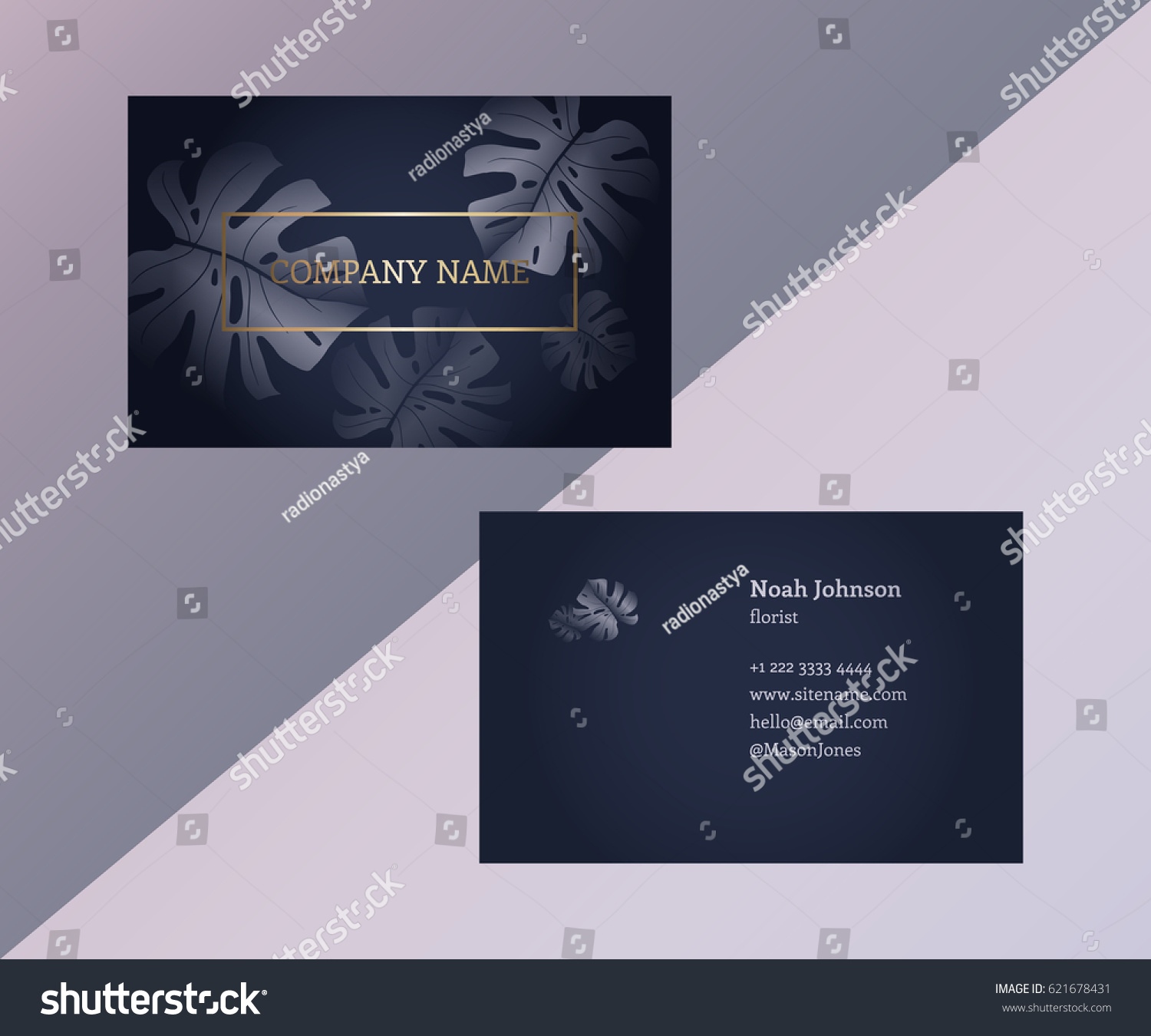 Template Double Sided Business Card Trendy Stock Vector 621678431 ...