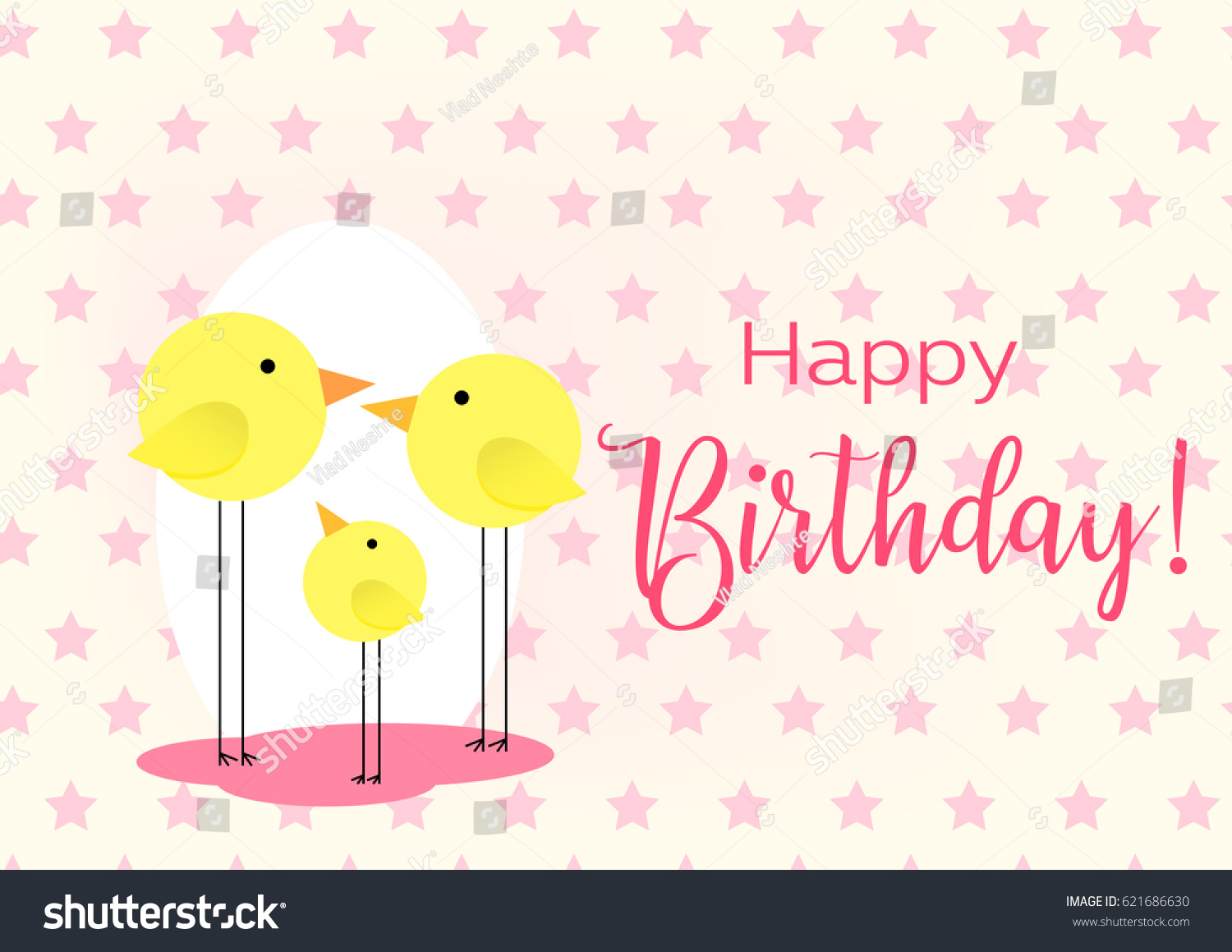 Birthday Greeting Card Drawing Family Birds Stock Vector Royalty