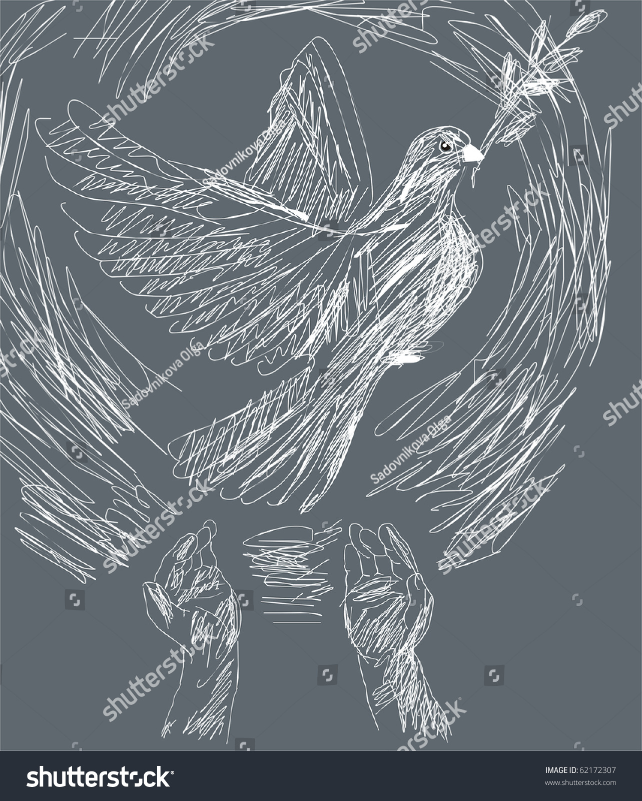 Peace Symbol White Dove Sprig Laurel Stock Vector Royalty Free