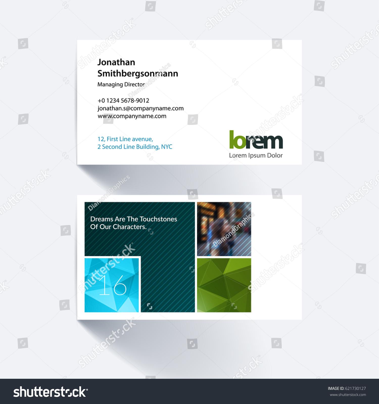 Vector Business Card Template Green Abstract Stock Vector