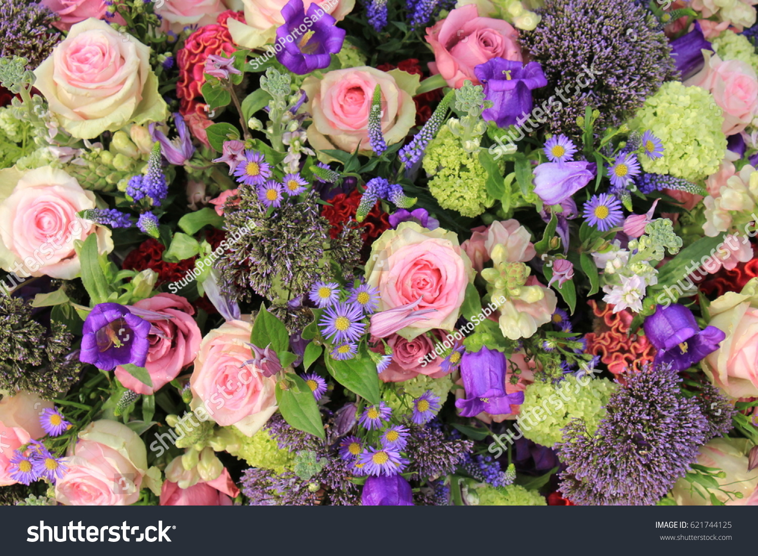 Mixed Flower Arrangement Wedding Flowers Pink Stock Photo Safe To