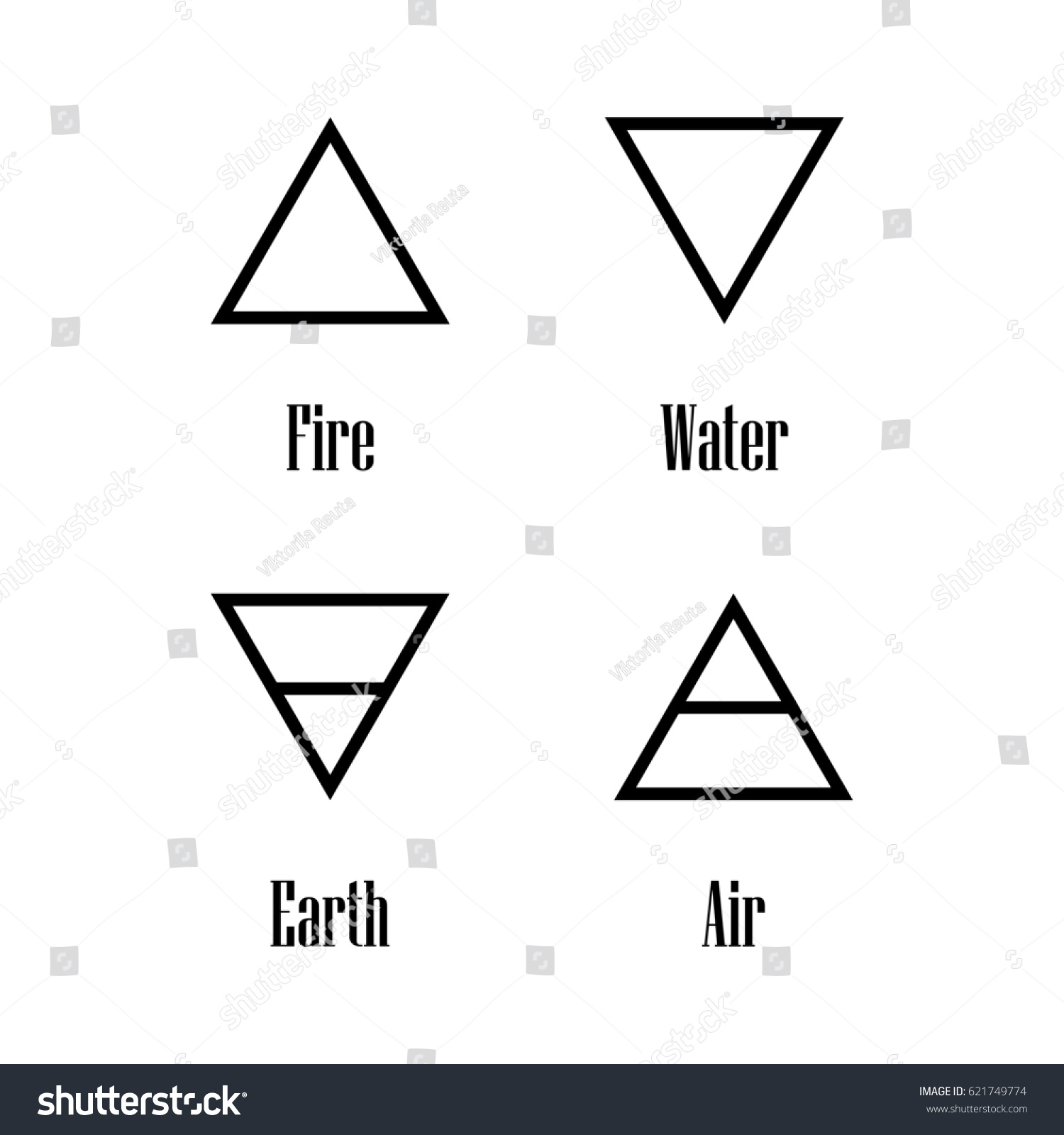 Raster illustration four elements icons line stock illustration raster illustration four elements icons line symbols air fire water and earth biocorpaavc