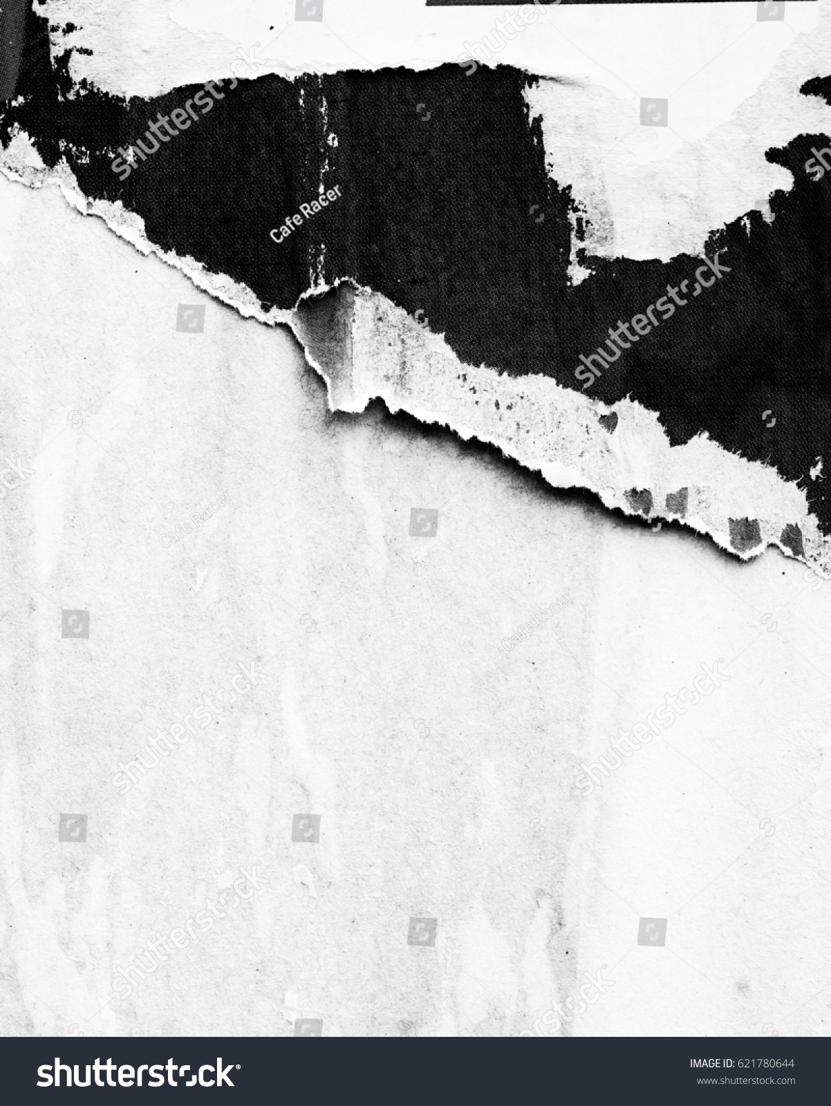Black white old grunge ripped torn vintage collage posters creased crumpled paper surface texture background placard / Empty space for text #621780644