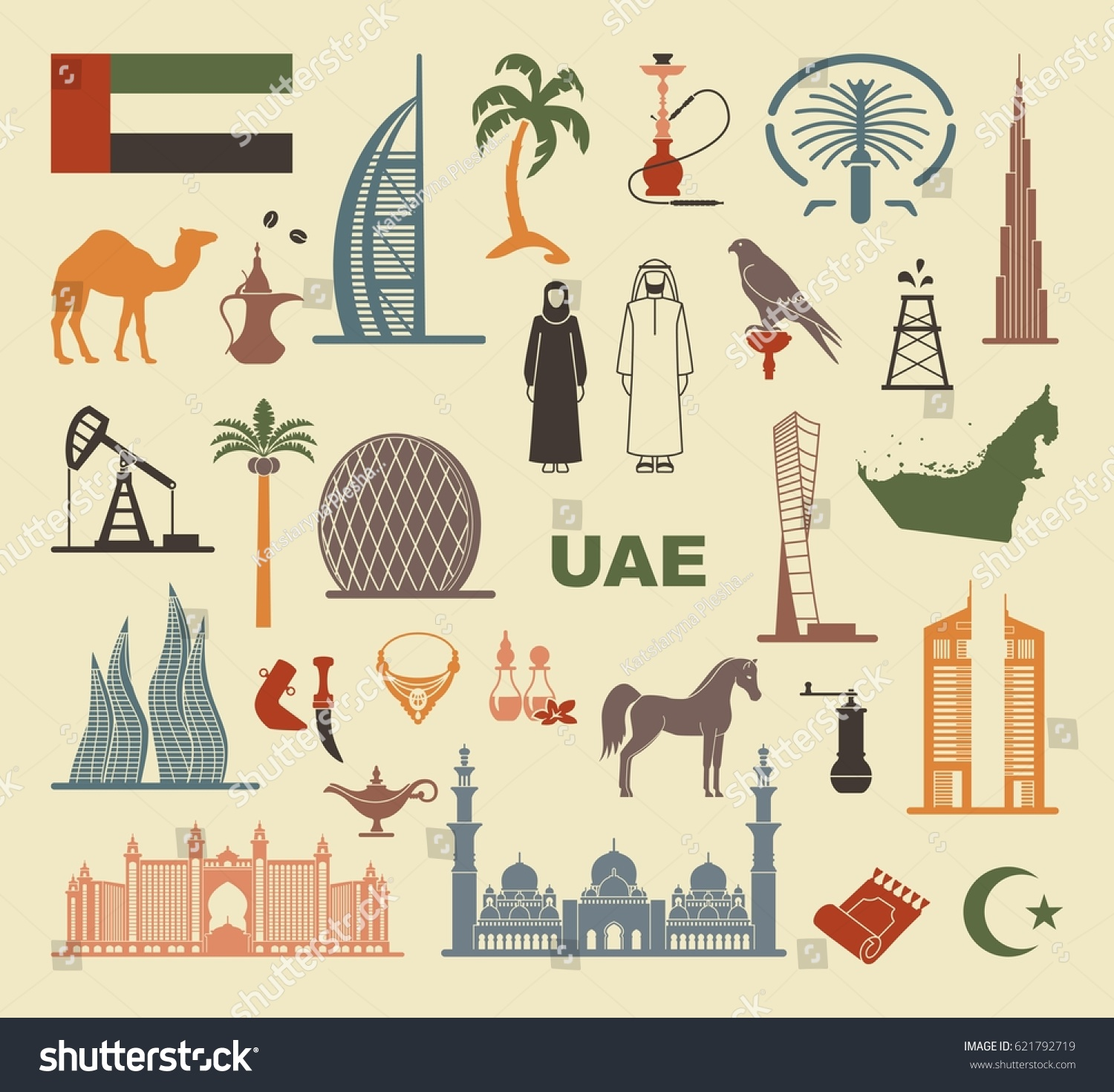 Symbols United Arab Emirates Set Vector Stock Vector Royalty Free