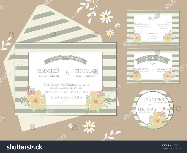 Set Invitation Wedding Card Modern Flowers Stock Vector (2018 ...
