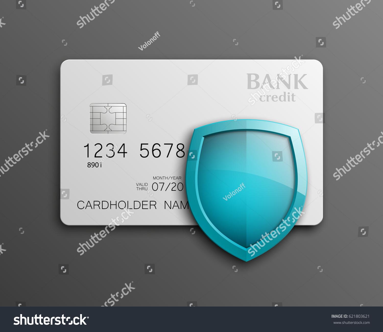 Protection Shield Credit Card Safety Badge Stock Vector HD (Royalty ...