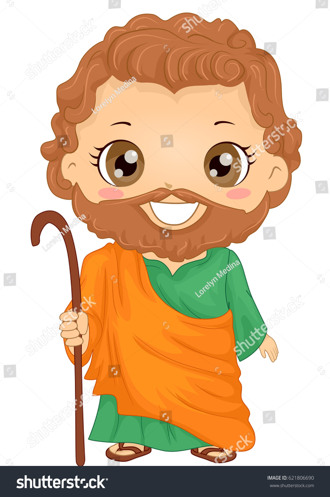 bible story illustration little boy role stock vector 621806690