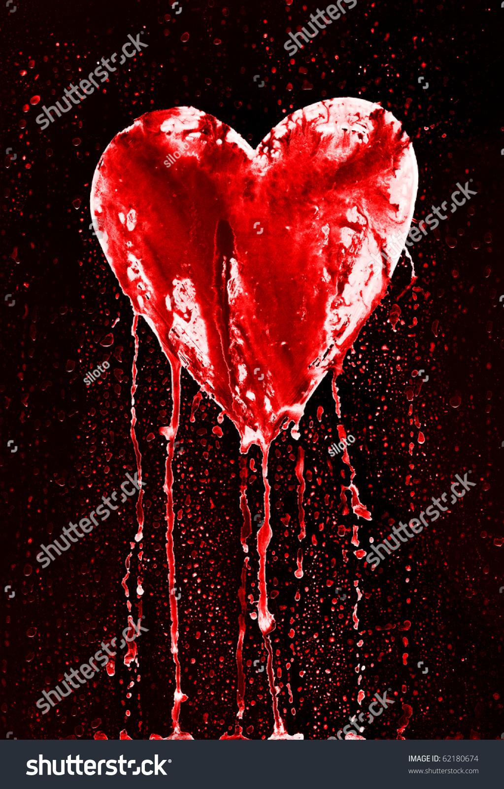 Bleeding Heart Symbol Love Grunge Style Stock Illustration