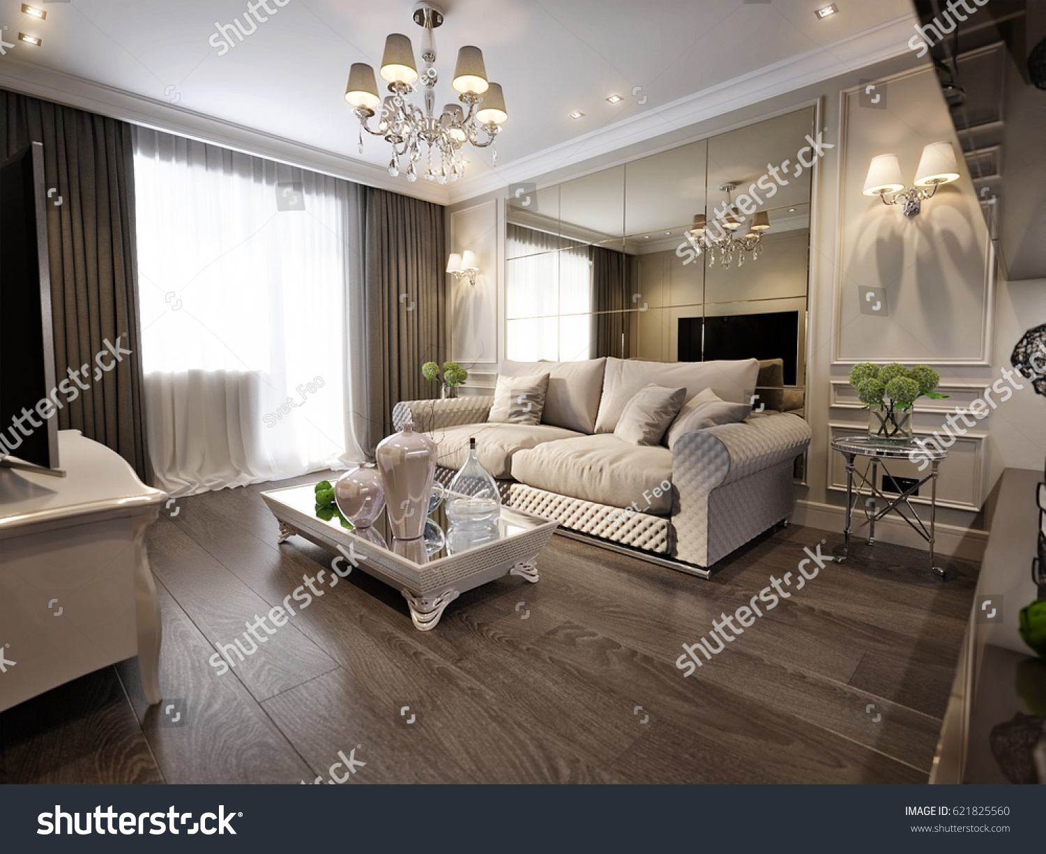 Traditional living rooms with tv - Modern Classic New Traditional Living Room Interior Design With Gray Brown Glossy Chrome Furniture Tv Area