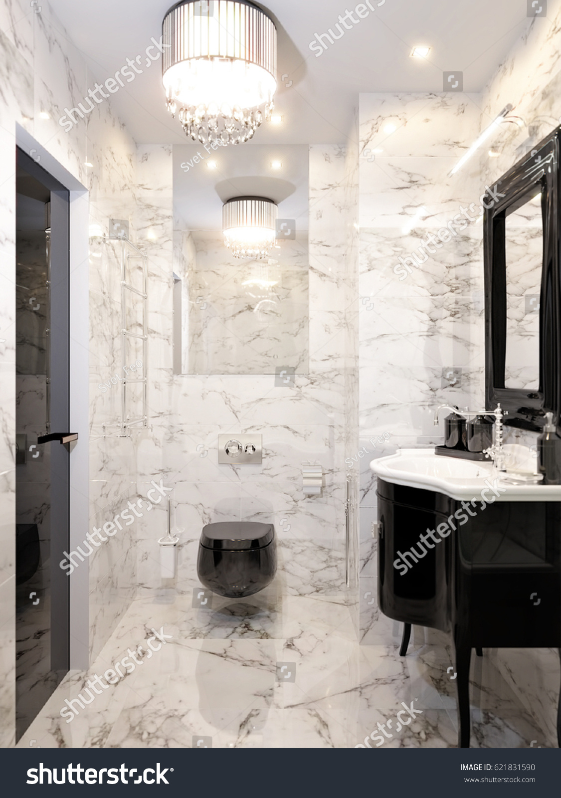Modern art deco bathrooms - Modern Art Deco Bathroom Interior Design With Gray And White Marble Tiles Black Furniture And