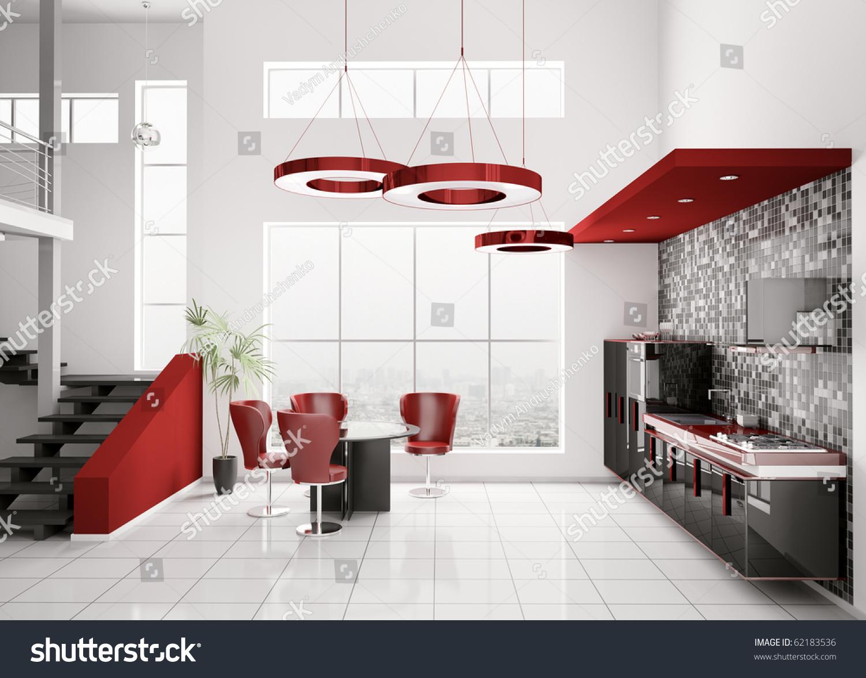 Black And Red Kitchen Interior Modern Black White Red Kitchen Stock Illustration