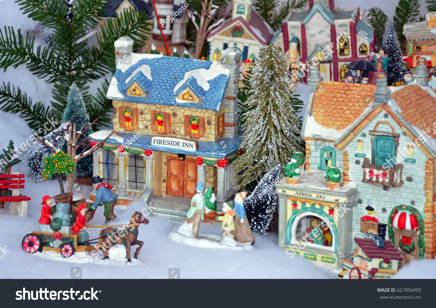 colorful miniature christmas village display - Miniature Christmas Town Decorations