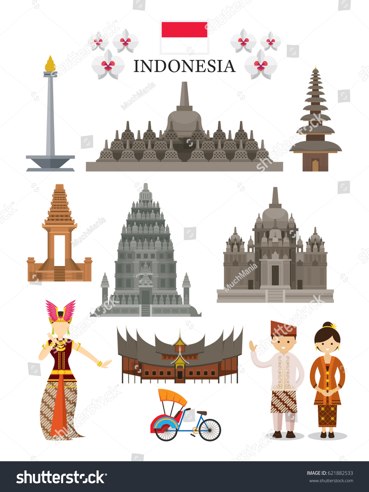 Indonesia Landmarks Culture Object Set National Stock Vector