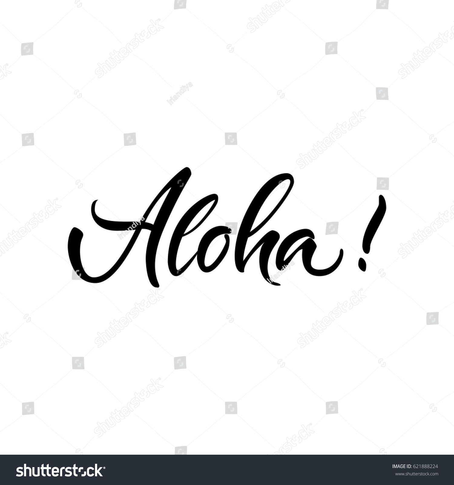 Vector Illustration Lettering Calligraphy Word Aloha Stock