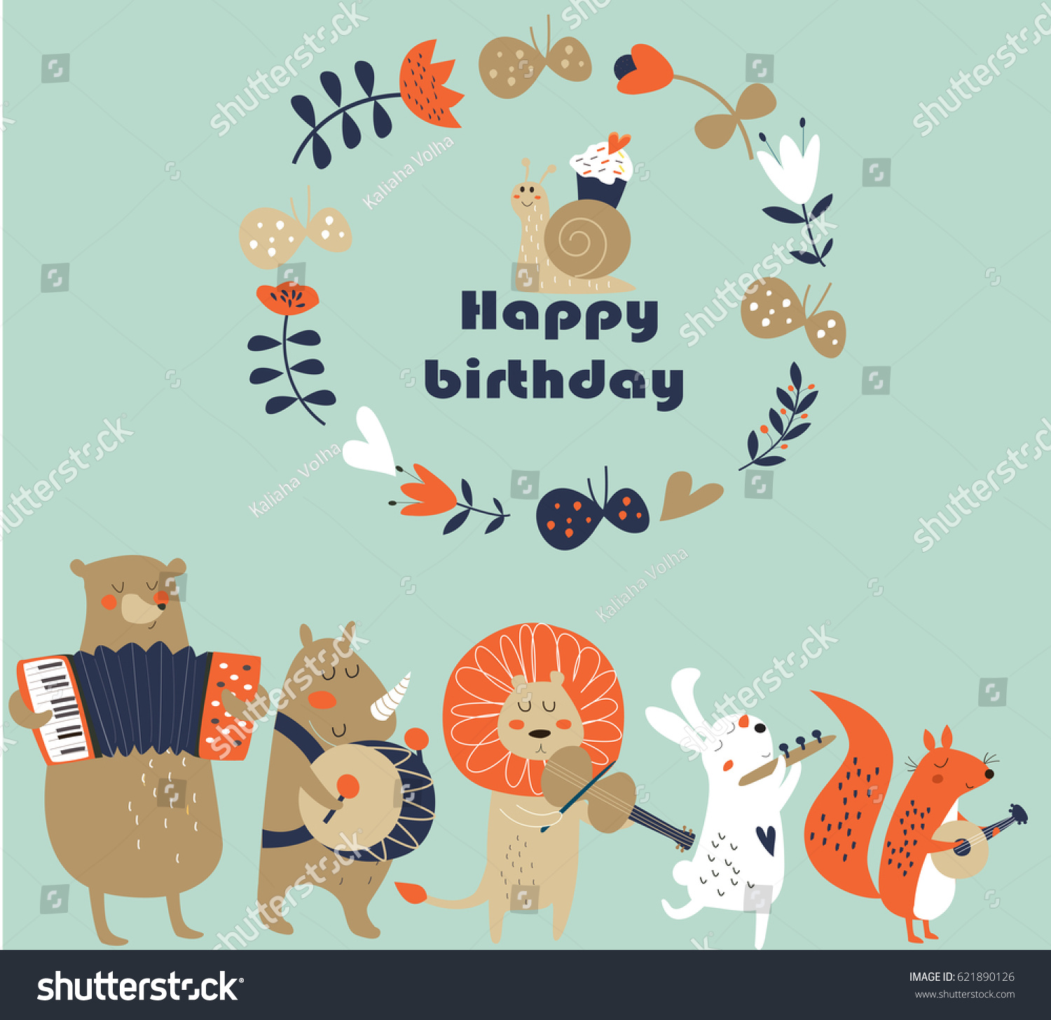 Birthday Card Cute Animals Playing Musical Vector 621890126 – Birthday Cards Musical