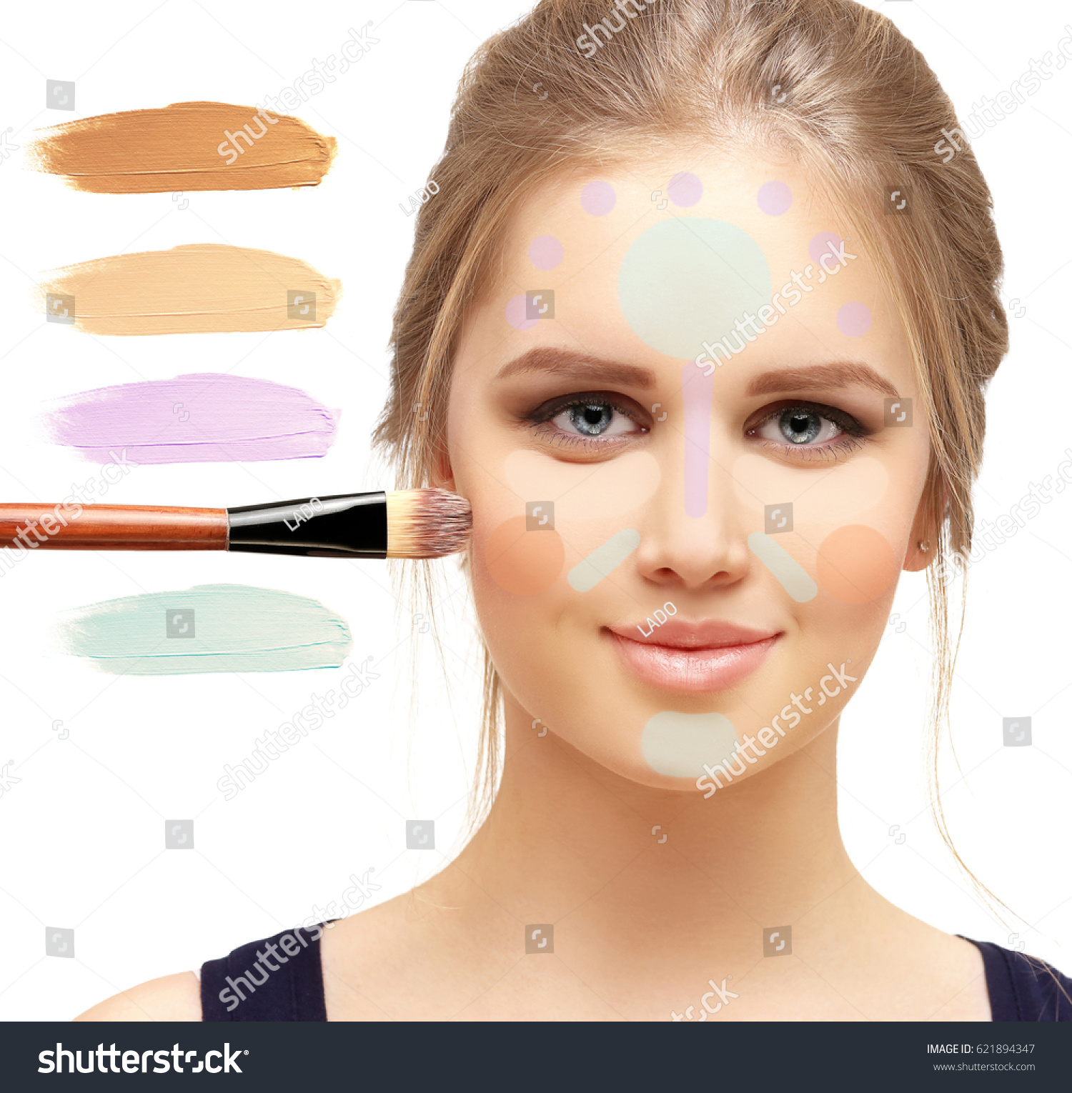 Foundation Concealer Contouring Make Woman Face Stock Photo Edit Overage And A Contouringmake Up