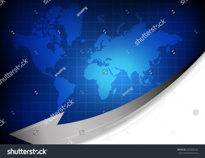 Vector world map arrow on blue stock vector 2018 621908435 vector world map with arrow on blue grid background gumiabroncs Gallery