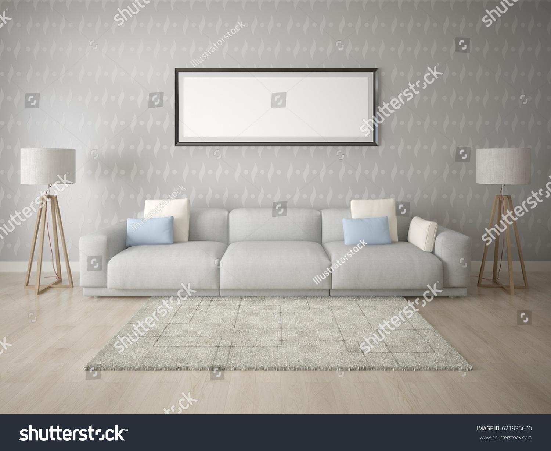 Mock Living Room Large Comfortable Sofa Stock Illustration 621935600 ...