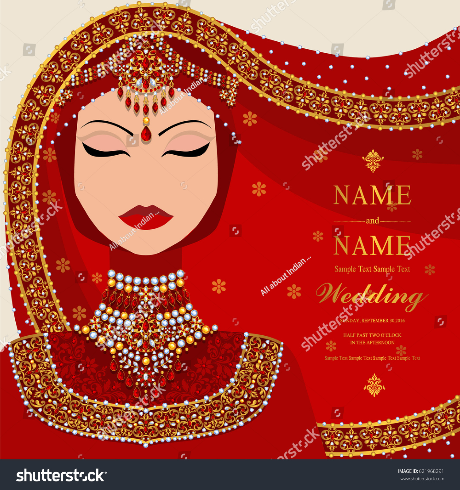 Wedding Invitation Card Templates Muslim Women Stock Vector (Royalty ...