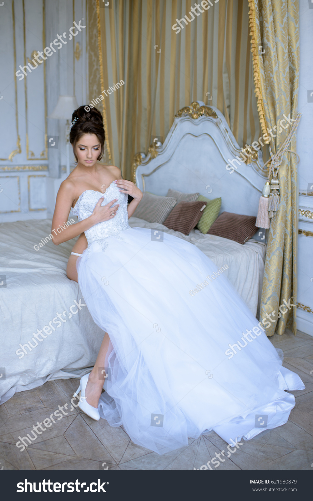 Beautiful Bride Lingerie Wearing Wedding Dress Stock Photo Edit Now