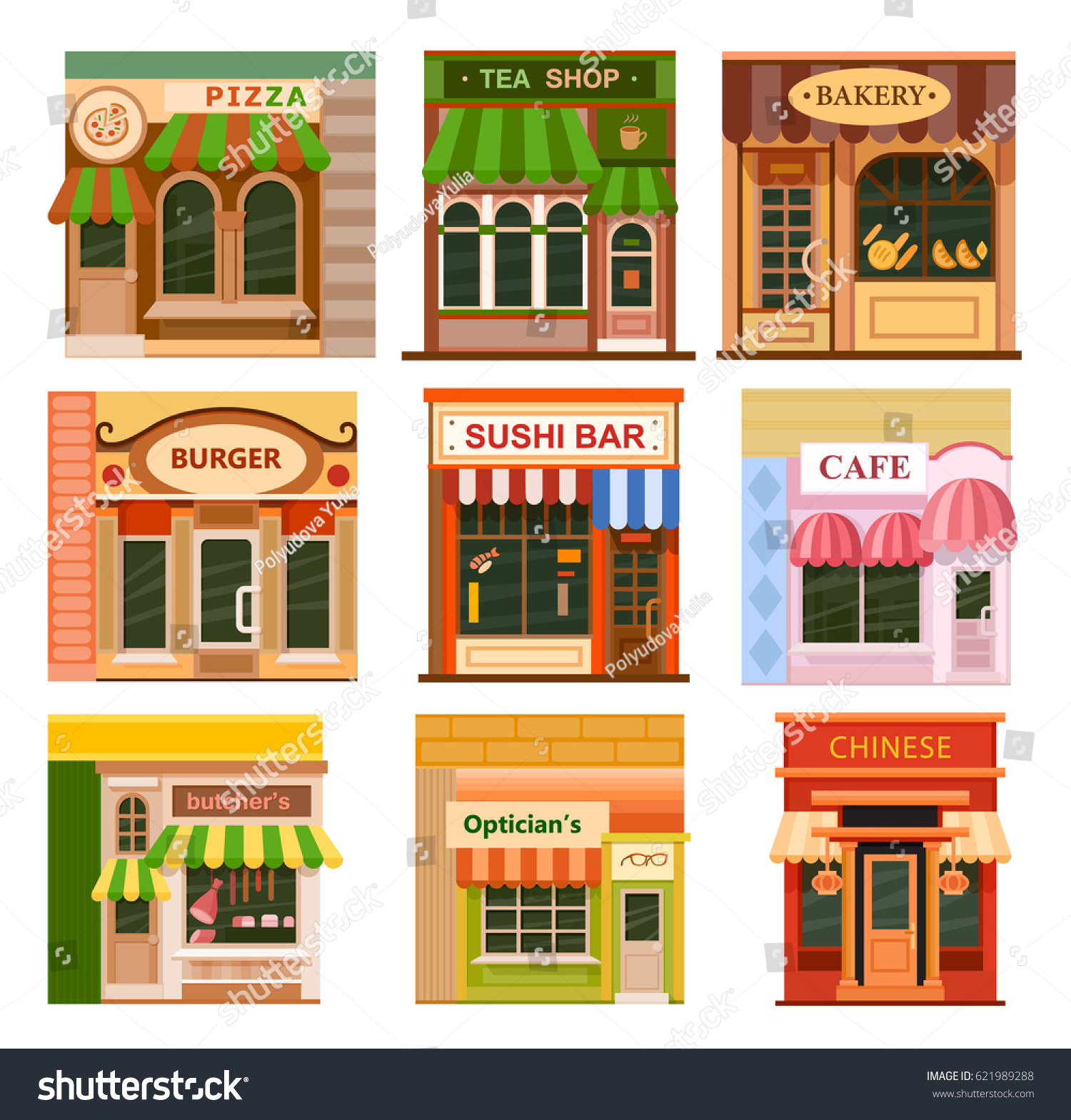 Fancy restaurant buildings clip art - Flat Style Cafe Restaurant Shop Store Little Tiny Fancy Icon Set Chinese Sushi Bar