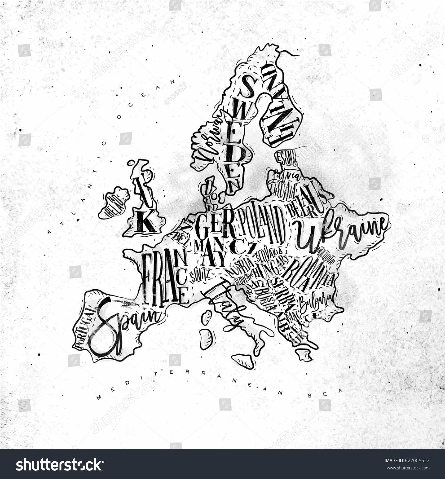Vintage Europe Map Countries Inscription Uk Stock Vector - Norway map vector countries